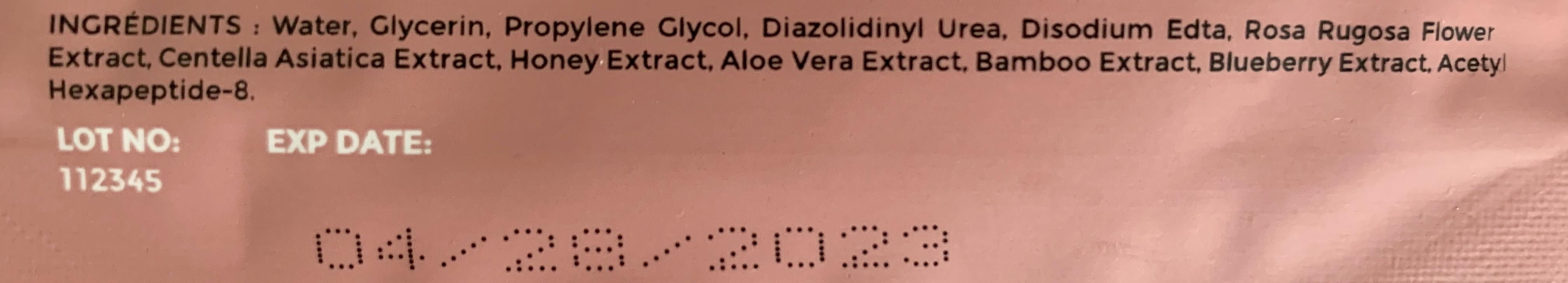 Liste d'ingrédients DermaV de Dermalights
